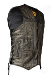 Distressed Brown Leather Vest With Gun Pockets