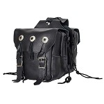 Black Leather Motorcycle Saddlebags with Conchos