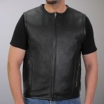 Men's Conceal Carry Round Collar Leather Vest