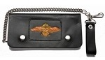 Leather Chain Wallet With Motorcycle and Wings
