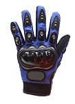 Hard Knuckle Blue Motorcycle Racing Gloves