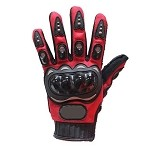 Hard Knuckle Red Motorcycle Racing Gloves