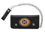 Leather Chain Wallet with Confederate Flag