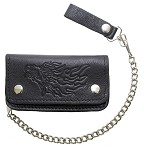 Black Leather Chain Wallet with Flaming Eagle
