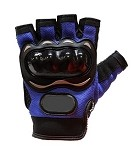 Padded Blue Fingerless Motorcycle Racing Gloves