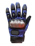 Blue Hard Knuckle Motorcycle Racing Gloves