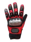 Red Hard Knuckle Motorcycle Racing Gloves